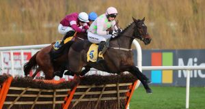 Sharjah jumps ahead of Samcro en-route to victory ar Leopardstown. Photograph: Niall Carson/PA