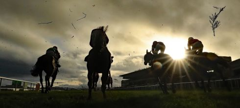 REAR VIEW: The Neville Hotels Novice Steeplechase gathers pace on day four of the Leopardstown Christmas Festival. Photograph: Niall Carson/PA Wire