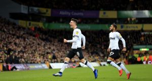 Mason Mount of Derby County celebrates scoring his side's second goal during the Championship win over Norwich at Carrow Road. Photo: Stephen Pond/Getty Images