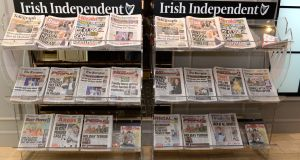 INM papers on display at the Independent News & Media AGM in Dublin. Photograph: Dara Mac Dónaill