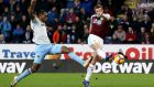 Chris Wood of Burnley scores his team's first goal in their win West Ham United at Turf Moor. Photo: Jan Kruger/Getty Images