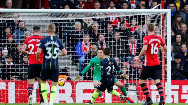 David Silva opens the scoring for Manchester City at St Mary's. Photograph: Eddie Keogh/Reuters