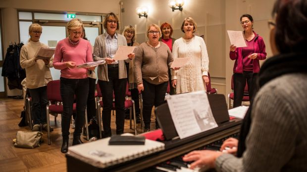 A choir rehearses at the Adult Education Centre in Kauniainen. Photograph: Lena Mucha/The New York Times