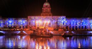 Lighting and laser display rehearsals at the Customs House, Dublin in preparation for New Year's Festival  Photograph: Gareth Chaney/Collins