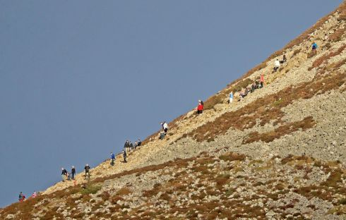 BLUE YONDER: Walkers on a sunny Sugar Loaf trek in Co Wicklow. Photograph: Donall Farmer/The Irish Times