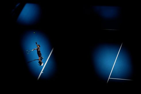 IN THE SPOTLIGHT: In a shot taken from behind an obstruction, Katie Boulter of Great Britain serves to  Maria Sakkari of Greece in the women's singles match on the first day of the 2019 Hopman Cup at RAC Arena in Perth, Australia. Photograph: Will Russell/Getty Images