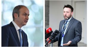 Fianna Fáil leader Micheál Martin (left) and his SDLP counterpart Colum Eastwood have been keeping the detail on a party merger secret from most of their own party members. File photographs: The Irish Times/Reuters
