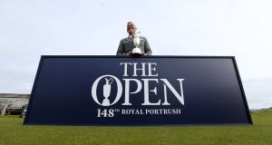 Darren Clarke with the Claret Jug at Royal Portrush, which will host the 148th British Open. Photograph: Kelvin Boyes/Presseye/Inpho