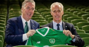 FAI chief executive John Delaney with new manager Mick McCarthy. Photograph: Ryan Byrne/Inpho