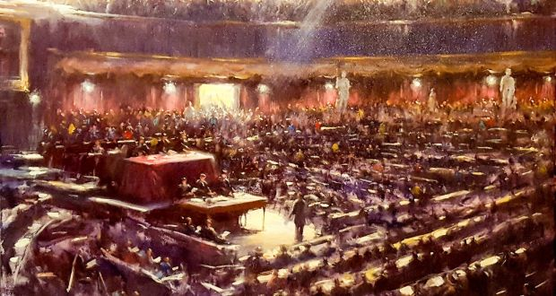 Painting of the first Dáil by Norman Teeling. Countesy of the Oriel Gallery theoriel.com