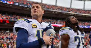 Quarterback Philip Rivers  of the Los Angeles Chargers stands during the national anthem before a game against the Denver Broncos at Broncos Stadium at Mile High  in Denver, Colorado. Photograph:  Dustin Bradford/Getty Images