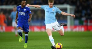 Kevin De Bruyne came through  Manchester City training on Wednesday and could play against Liverpool in the Premier League on Thursday. Photograph:   Shaun Botterill/Getty Images