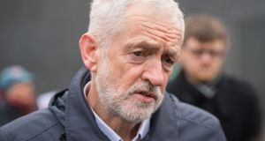 British Labour leader Jeremy Corbyn at a protest about rail fares and train service standards outside Kings Cross St Pancras station in London on Wednesday.  Photograph: Dominic Lipinski/PA Wire