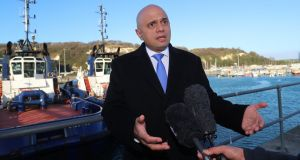British home secretary Sajid Javid speaks to the press after meeting Border Force staff  in Dover on Wednesday. Photograph: Gareth Fuller/WPA Pool/Getty Images