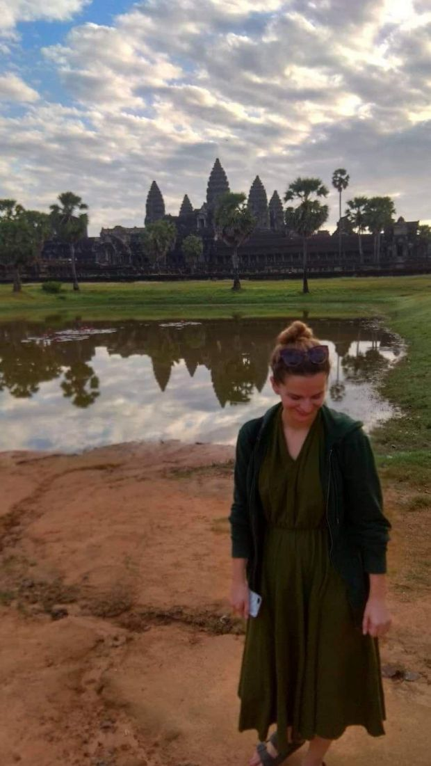 Fiona Hyde at Angkor Wat in Siem Reap, Cambodia