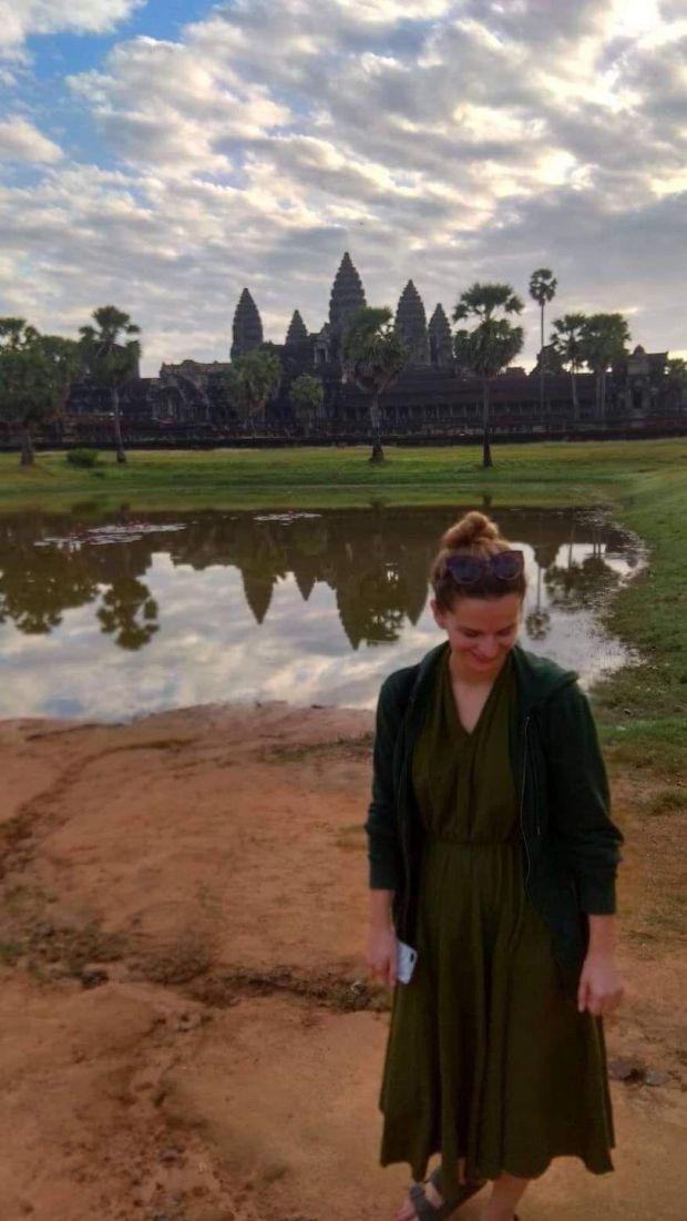Fiona Hyde at Angkor Wat in Siem Reap, Cambodia