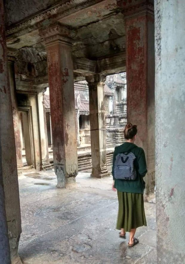 Fiona Hyde inside Angkor Wat in Siem Reap, Cambodia