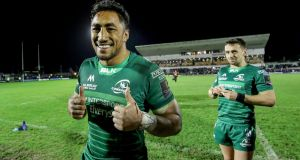 Bundee Aki celebrates Connacht's victory over Ulster at the Sportsground. Photograph: Dan Sheridan/Inpho