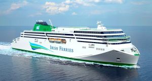 Artists impression of Irish Ferries' WB Yeats. Davy analysts see clear buying opportunities in companies with strong UK links such as Irish Continental Group.