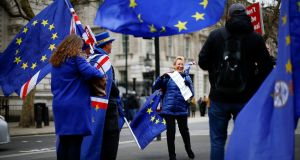 Anti-Brexit protesters outside Downing Street. Photograph: Henry Nicholls/Reuters
