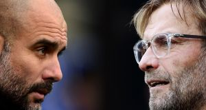 Pep  Guardiola manager of Manchester City, will once again pit his wits against    Liverpool manager Jurgen Klopp. Photograph:  Harry Trump/Ian McNichol/Getty Images