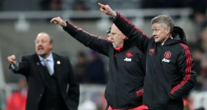 Ole Gunnar Solskjaer and assistant manager Mike Phelan give instructions during Manchester United's win over Newcastle. Photograph: Scott Heppell/Reuters