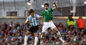 Cillian Sheridan during his third and final Ireland appearance, against Argentina in 2010. Photograph: Dan Sheridan/Inpho