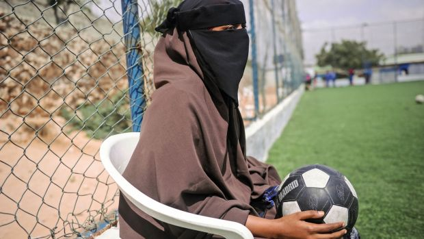 Aisha Alli (25) a Somali football player of Golden Girls Football Centre, Somalia's first female soccer club. Photograph: Getty Images