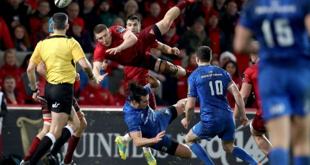 37a5ed95419 Leinster's James Lowe collides with Munster's Andrew Conway during the  Guinness Pro 14 derby at Thomond