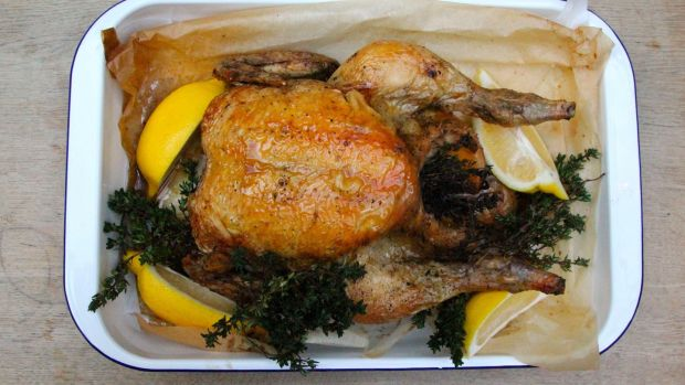 Thyme-roasted chicken with preserved lemon.