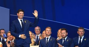 Europe vice-captain Pádraig Harrington is introduced during the opening ceremony for the 2018 Ryder Cup at Le Golf National on  in Paris. Photograph: Andrew Redington/Getty Images