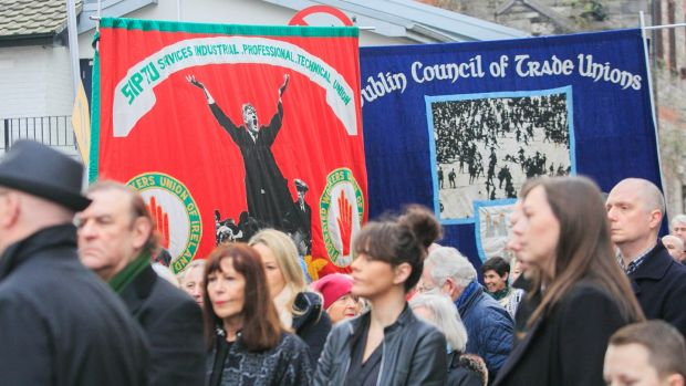 Union Banners featuring Jim Larkin at the Jer O'Leary funeral. Photo: Gareth Chaney / Collins