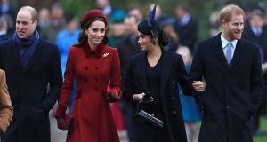 William and Kate with   Meghan and  Harry  on Christmas Day in Sandringham. Photograph: Stephen Pond/ Getty Images