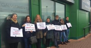 Anti-abortion protesters outside a GP surgery in Galway city on Thursday morning.