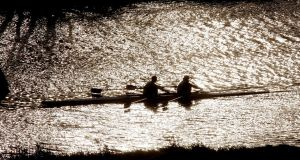 Winter rowing  on the River Liffey in Dublin. Photograph: Alan Betson
