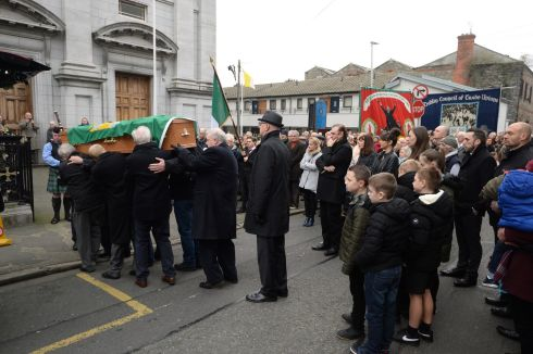 The funeral mass of  actor Jer O'Leary at the Church of St Agatha's, North William Street, Dublin. Photograph: Dara Mac Donaill/The Irish Times