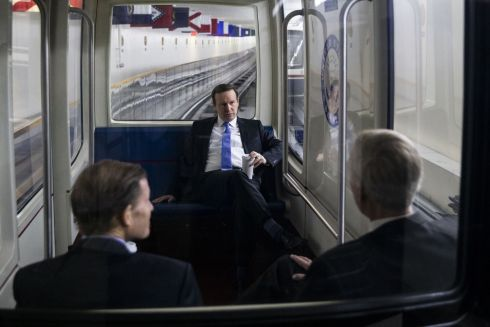 Senator Chris Murphy, a Democrat from Connecticut (centre) rides the Senate Subway with Senator Richard Blumenthal, a Democrat from Connecticut, left, and Senator Angus King, an Independent from Maine, in Washington. Photographer: Al Drago/Bloomberg