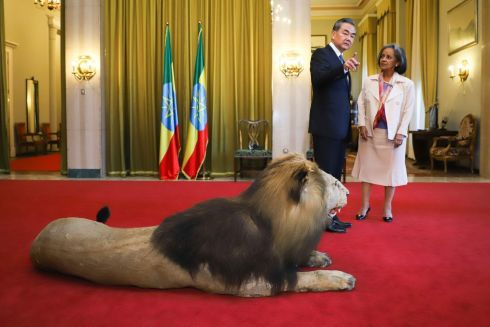 China's foreign minister Wang Yi (left) and Ethiopia's president Sahle-Work Zewde near a stuffed lion ahead of a meeting at the national palace in Addis Ababa during Mr Wang's official four-nation Africa tour. Photograph: Michael Tewelde/AFP/Getty Images