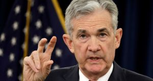 Federal Reserve board chairman Jerome Powell:  A combination of poor economic data and more cautious notes from the Fed helped fuel the jump in rate cutting expectations. Photograph: Yuri Gripas/Reuters