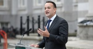 Taoiseach Leo Varadkar speaks to the media following the first Cabinet meeting of 2019 at Government Buildings, Dublin, on Thursday. Photograph: Dara Mac Dónaill/The Irish Times