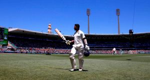 India's Cheteshwar Pujara leaves the field at the SCG after being dismissed for a mammoth 193. Photograph: David Gray/AFP/Getty