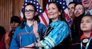 New Mexico Democrat Deb Haaland is sworn in as a member of the US House of Representatives on Thursday. Photograph: Joshua Roberts/Reuters