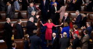 Nancy Pelosi is applauded after her election as speaker of the US House of Representatives on Thursday. Photograph: Brendan Smialowski/AFP/Getty Images