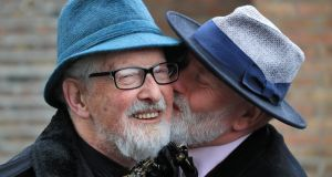 Matt Murphy (85) (wearing spectacles) and Michael O'Sullivan (58) pictured after their wedding at the Registrar's Office in Dublin. Photograph: Colin Keegan, Collins Dublin