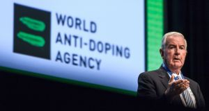 World Anti-Doping Agency (WADA) President Craig Reedie addresses the assembly at the opening of the 2018 edition of the WADA Annual Symposium on March 21, 2018 in Lausanne, Switzerland. Photograph: Fabrice Coffrini / AFP/Getty Images