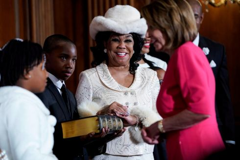 Republican Frederica Wilson (Democrat-Florida) greets Speaker of the House Nancy Pelosi (Democrat-California) before a ceremonial swearing-in photograph on Capitol Hill in Washington. Photograph: Joshua Roberts/Reuters