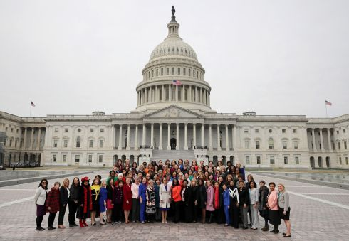 Speaker Nancy Pelosi (centre front row) poses for photographs with all of her fellow House Democratic before the US Capitol. Photograph: Chip Somodevilla/Getty Images