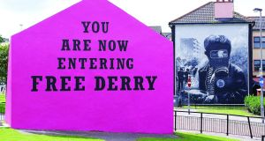 Free Derry Corner: Since 2007, the wall has been painted pink once a year to mark Foyle Pride. Photograph: courtesy of Guildhall Press