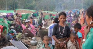 Rakhine ethnic people, who fled from a conflict area, gather at War Taung village's temporary camp, in Kyauk Taw Township, in northern Rakhine State, Myanmar, on  January 3rd. 2019. Photograph: Nyunt Win