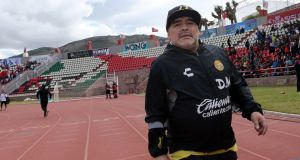 Dorados coach Diego Maradona has been admitted to hospital with internal bleeding. Photo: Henry Romero/Reuters